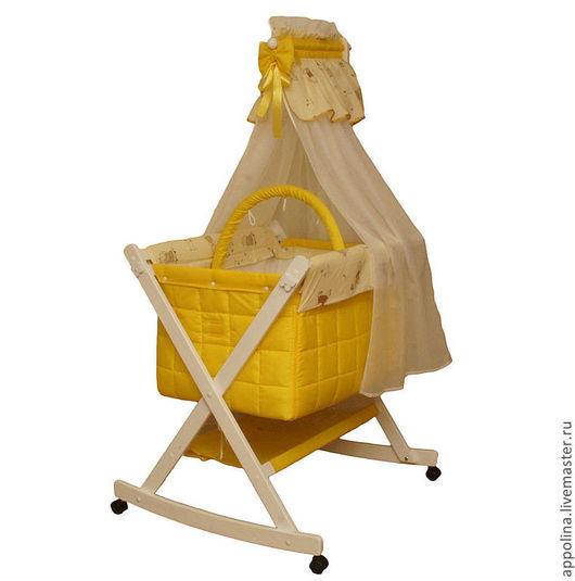 """Детская ручной работы. Ярмарка Мастеров - ручная работа. Купить Колыбель-люлька """"Солнечный зайчик"""". Handmade. Колыбель, желтый"""
