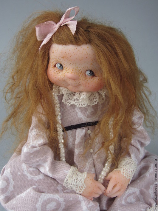 """Коллекционные куклы ручной работы. Ярмарка Мастеров - ручная работа. Купить """"Каська"""". Handmade. Бледно-розовый, кукла с куклой, шалунья"""