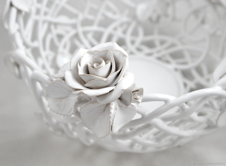 The bottom `White rose`. The diameter of the braided part 21 cm. Braided ceramic and ceramic floristry Elena Zaichenko