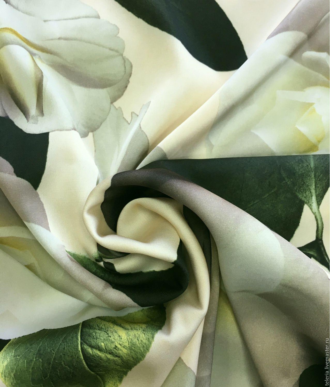"Шелк-атлас ""Белый цветок"", Ткань, Лабинск, Фото №1"