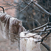 Аксессуары ручной работы. Ярмарка Мастеров - ручная работа Палантин вязаный ажурный Зимний Сон бежевый серый. Handmade.