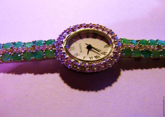 """Винтажные украшения. Ярмарка Мастеров - ручная работа. Купить Часы женские с изумрудами """"Изумрудные часики"""". Handmade. Зеленый, часы наручные"""