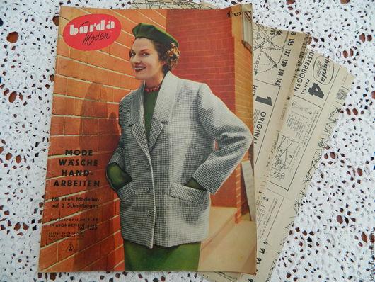 Винтажные книги, журналы. Ярмарка Мастеров - ручная работа. Купить Burda moden 1/1952. Handmade. Белый, журнал