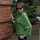 """Кофты и свитера ручной работы. Ярмарка Мастеров - ручная работа. Купить Свитер-Кимоно """"Авокадо"""". Handmade. Ярко-зелёный, ассиметрия"""