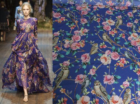 """Шитье ручной работы. Ярмарка Мастеров - ручная работа. Купить Шифон  Dolce&Gabbana """"Совы"""" 4 цвета. Handmade. Шелк, цветы"""