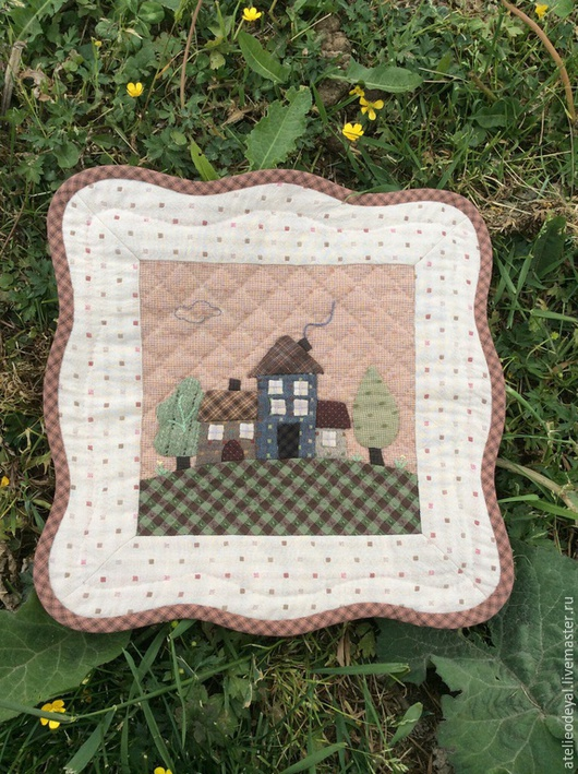 """Текстиль, ковры ручной работы. Ярмарка Мастеров - ручная работа. Купить панно """"Мой дом"""". Handmade. Японский пэчворк, для интерьера"""