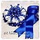 Для новорожденных, ручной работы. Ярмарка Мастеров - ручная работа. Купить Бант синий для новорожденного на выписку из роддома. Handmade.