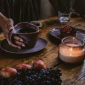 Посуда handmade. Livemaster - original item teacups: 300 ml mug and saucer. Handmade.