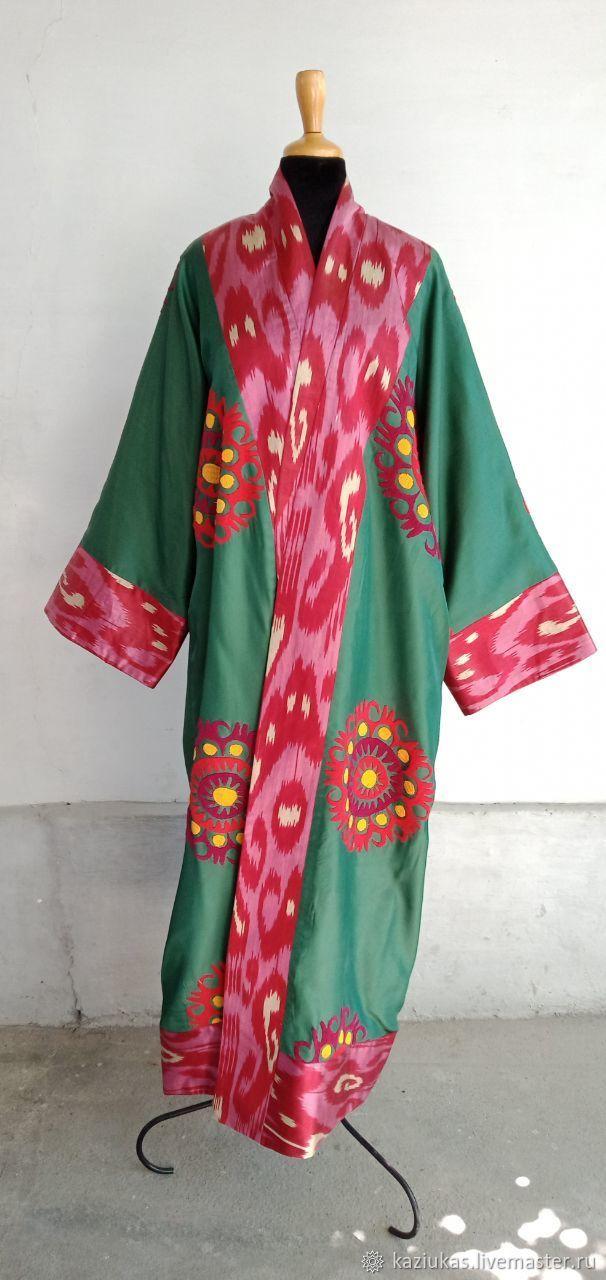 Uzbek robe made of suzane and ikat. Boho coat, caftan, Robes, Odintsovo,  Фото №1