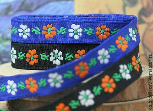 Шитье ручной работы. Ярмарка Мастеров - ручная работа. Купить Синяя с цветочками жаккардовая тесьма арт. 12-8. Handmade.