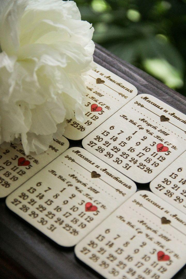 """Свадебные деревянные магнитики """"Календарик"""", Подарки, Москва,  Фото №1"""
