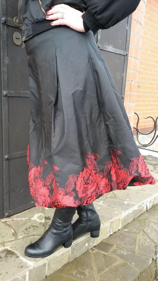 """Юбки ручной работы. Ярмарка Мастеров - ручная работа. Купить Юбка """"Красные розы"""". Handmade. Черный, тафта, оригинальная юбка"""