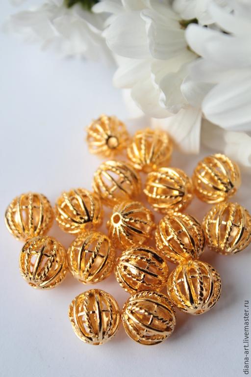 """Для украшений ручной работы. Ярмарка Мастеров - ручная работа. Купить Бусины """" Шарики """" золото. Handmade. Бусины"""