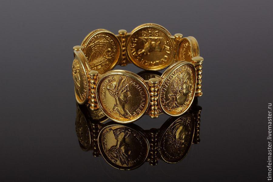 Браслет с древнеримскими монетами – сестерциями. Авторская ручная работа.