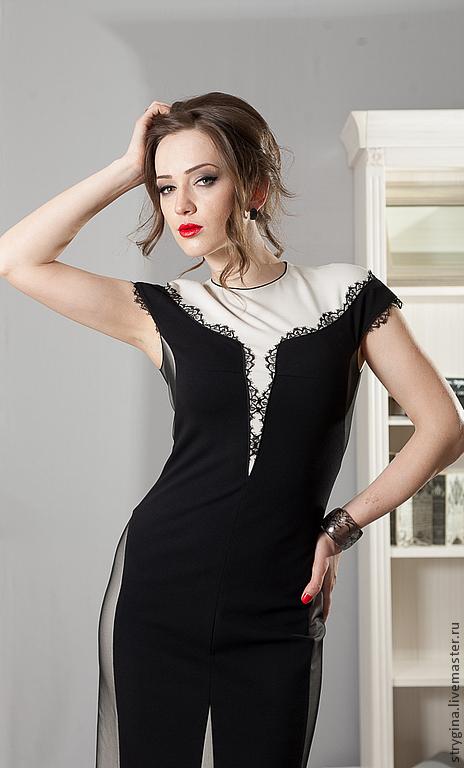 Платья ручной работы. Ярмарка Мастеров - ручная работа. Купить Платье GRAZIA. Handmade. Чёрно-белый, сетка, нарядное платье