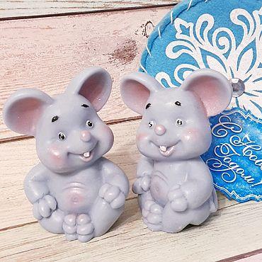 Косметика ручной работы. Ярмарка Мастеров - ручная работа Мыло мышонок. Новогоднее мыло мышь - символ года. Новогодние подарки. Handmade.