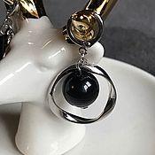 Серьги классические ручной работы. Ярмарка Мастеров - ручная работа Серьги из крупного чёрного агата. Handmade.