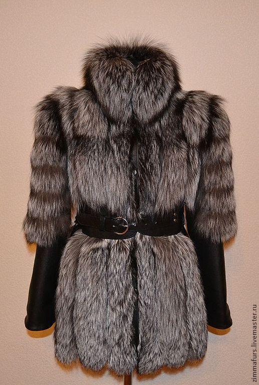 Верхняя одежда ручной работы. Ярмарка Мастеров - ручная работа. Купить Шуба-куртка из меха черно-бурой (серебристой) лисы.. Handmade.