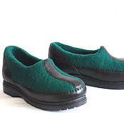 Обувь ручной работы. Ярмарка Мастеров - ручная работа Зелёные войлочные туфли, 39 размер.. Handmade.
