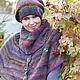 Пончо ручной работы. Заказать Пончо - Черноплодная рябина.. Knitted fashion by Ekaterina Bykova. Ярмарка Мастеров. Королева