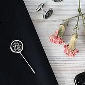 Украшения ручной работы. Ярмарка Мастеров - ручная работа Серебряная игла в лацкан с Монограммой. Handmade.