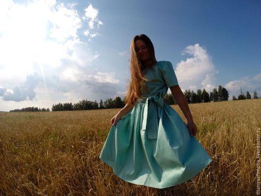 Платья ручной работы. Ярмарка Мастеров - ручная работа. Купить Платье короткое Мятное настроение. Handmade. Мятный, платье до колен