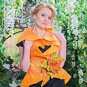 """Одежда ручной работы. Ярмарка Мастеров - ручная работа жилет валяный """"Оранжевая Лилия"""". Handmade."""