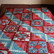 """Для дома и интерьера ручной работы. Ярмарка Мастеров - ручная работа Лоскутное одеяло """"Красное с бирюзой"""". Handmade."""