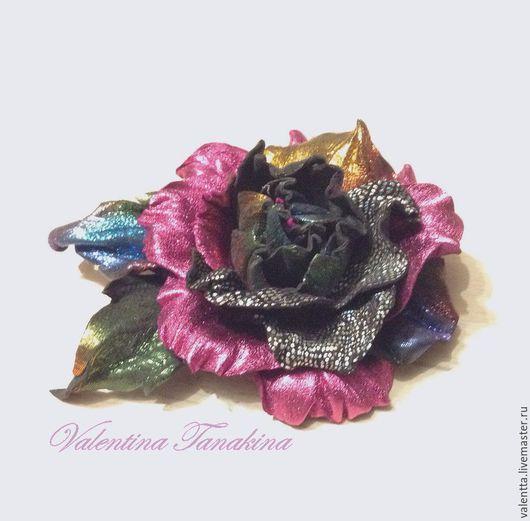 """Броши ручной работы. Ярмарка Мастеров - ручная работа. Купить Цветок из кожи """"Сверкающий"""". Handmade. Украшение, брошь цветок"""