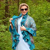 Аксессуары handmade. Livemaster - original item Tippet felted the depths of the Sea, silk scarf with flounce. Handmade.