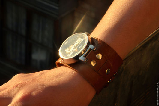 Часы ручной работы. Ярмарка Мастеров - ручная работа. Купить Кожаный браслет для часов. Handmade. Коричневый, солнечный