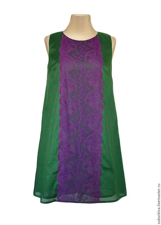 Платья ручной работы. Ярмарка Мастеров - ручная работа. Купить ПЛАТЬЕ-ТУНИКА размер S. Handmade. Зеленый, платье