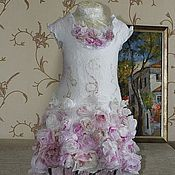 """Работы для детей, ручной работы. Ярмарка Мастеров - ручная работа Валяное платье для девочки """"Утренняя роза"""". Handmade."""