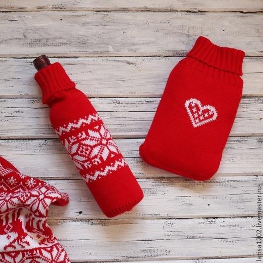 Новый год 2017 ручной работы. Ярмарка Мастеров - ручная работа. Купить Подарки - чехол для грелки или чехол для бутылки. Handmade.