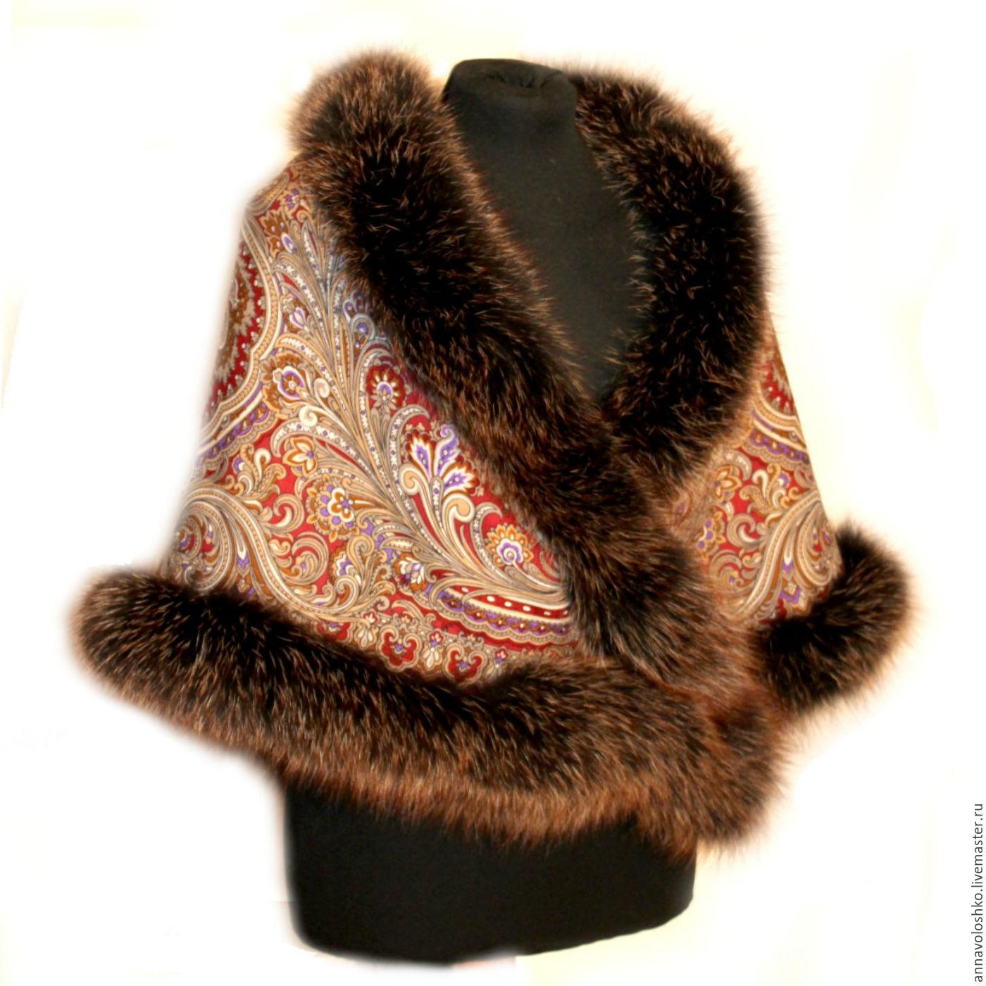 Beautiful pavloposadskie scarves with fur. Size 125h125 cm. Brown shawl