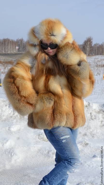 The coat of the Siberian red Fox . Hooded. Solid, Fur Coats, Omsk,  Фото №1