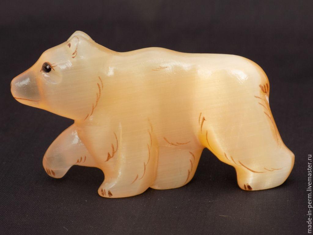 Медведь  - фигурка магнит из камня Селенит, Статуэтки, Орда,  Фото №1