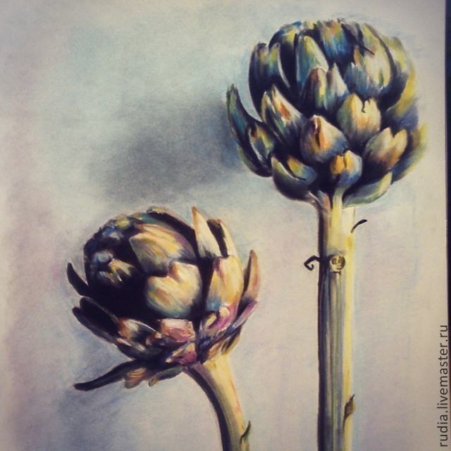 Pastel painting of Two artichokes from the series `In the kitchen` with pictures of the products will harmoniously fit into any interior and fill the space with color and light.