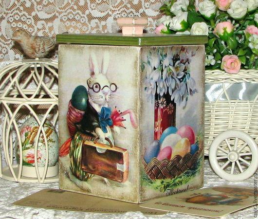 """Корзины, коробы ручной работы. Ярмарка Мастеров - ручная работа. Купить короб для сладостей """"Пасхальный кролик"""". Handmade. Салатовый, кухня"""