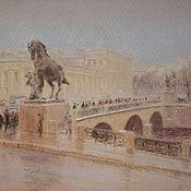 Картины и панно handmade. Livemaster - original item Painting with pastels - the Anichkov bridge. Handmade.