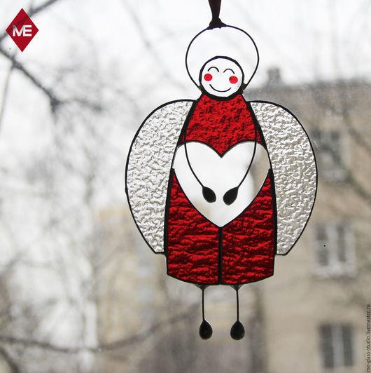 """Подарки для влюбленных ручной работы. Ярмарка Мастеров - ручная работа. Купить Интерьерная подвеска """"Сердечный ангел"""". Handmade. Ярко-красный"""