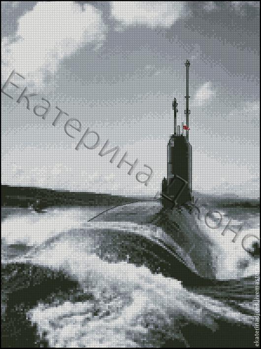 Подводная лодка. Авторская схема для вышивки крестом. Сделана на заказ.
