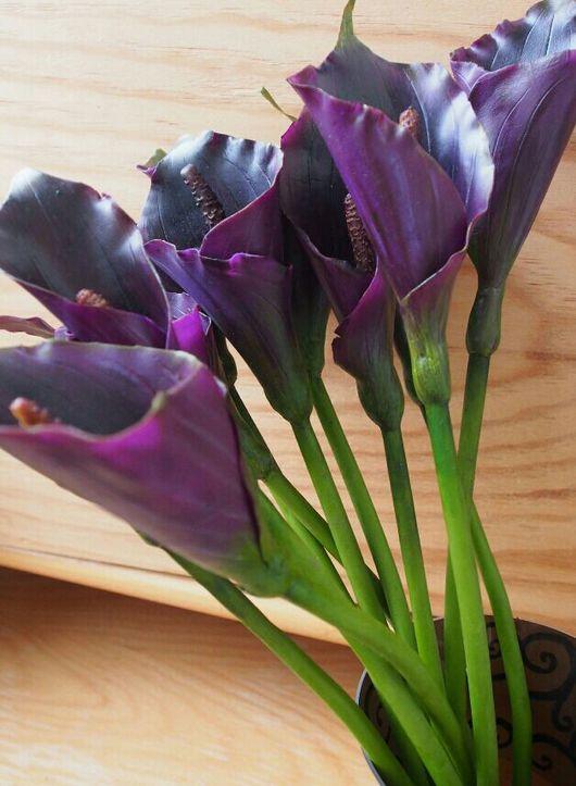 Цветы ручной работы. Ярмарка Мастеров - ручная работа. Купить Фиолетовые каллы из холодного фарфора. Handmade. Каллы, подарок