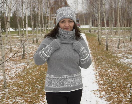Зимняя мода Свитер с шапочкой Свитер и снуд Зимний комплект