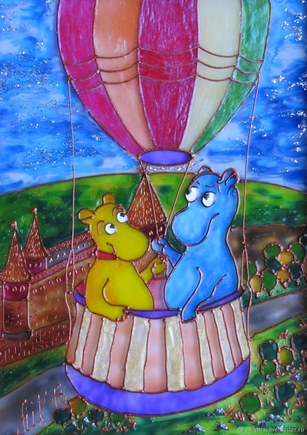 On the large balloon. Flying to the dream. Stained glass painting, Pictures, Severodonetsk,  Фото №1