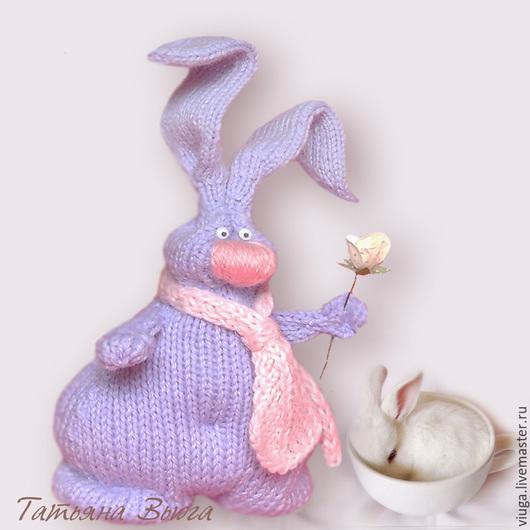 Игрушка Зайка, вязаный спицами,игрушка вязаная шерстяная, игрушка интерьерная, мягкая, игрушка декоративная ручной работы,  подарок на день рождения, подарок любимой, подарок ручной работы