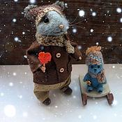 Куклы и игрушки ручной работы. Ярмарка Мастеров - ручная работа Мышка с мишкой)). Handmade.