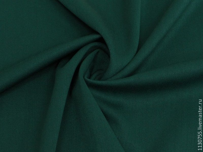 ткань  вискоза сатин  т.зеленый  стрейч, Ткань, Москва, Фото №1