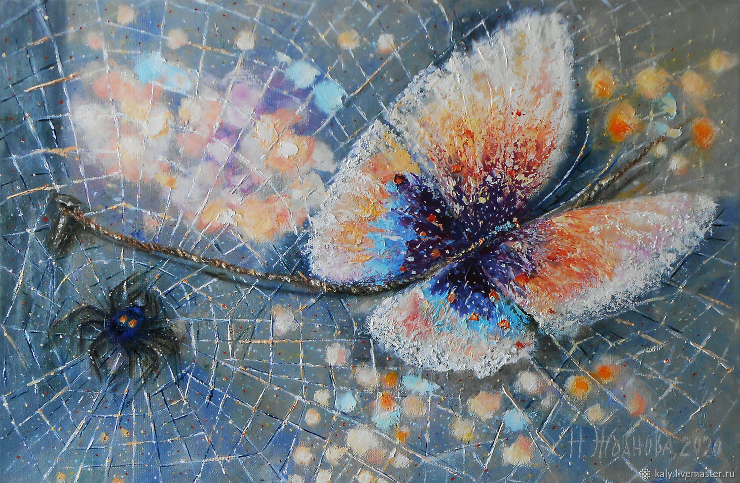 Butterfly painting colorful wall art canvas artwork with Spider, Pictures, St. Petersburg,  Фото №1