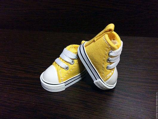 Куклы и игрушки ручной работы. Ярмарка Мастеров - ручная работа. Купить Кеды для кукол 5см (обувь для кукол) цв.желтый. Handmade.